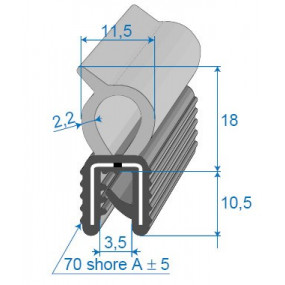Joint coffre sur armature métallique pour peugeot 205