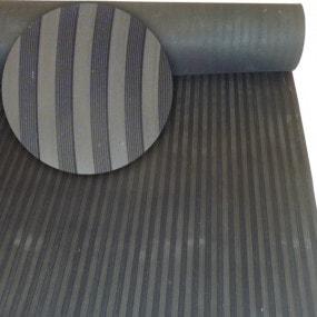 Tapis de sol en caoutchouc noir stries fines/larges