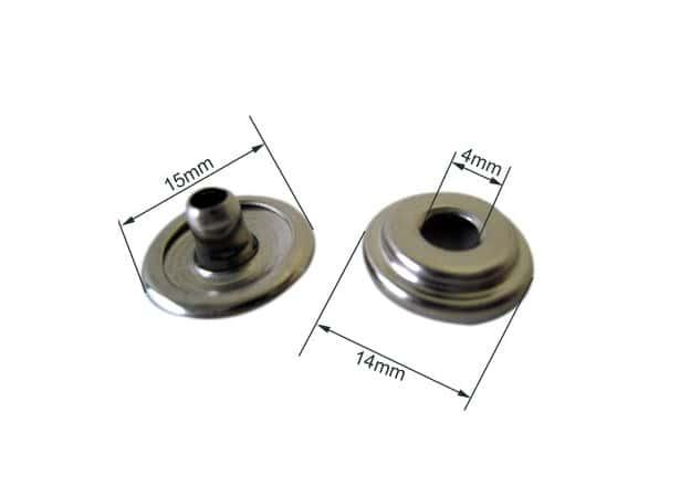 Bouton pression durable femelle laiton nickelé pour toile (lot de 10)