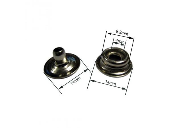 Bouton pression durable mâle laiton nickelé pour toile (lot de 10)