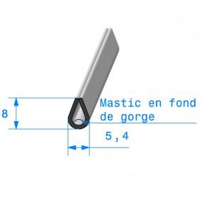 Joint de finition en U noir avec mastic en fond de gorge - 5.4 x 8 mm