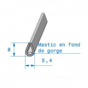 Joint de finition en U gris avec mastic en fond de gorge - 5.4 x 8 mm