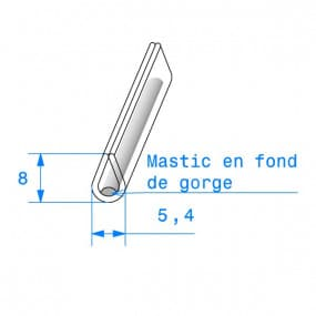 Joint de finition en U transparent avec mastic en fond de gorge - 5.4 x 8 mm