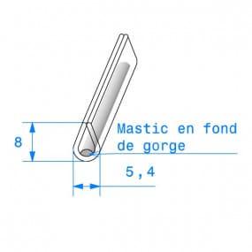 Joint de finition en U transparent avec mastic en fond de gorge - 5.4 x 8 mm