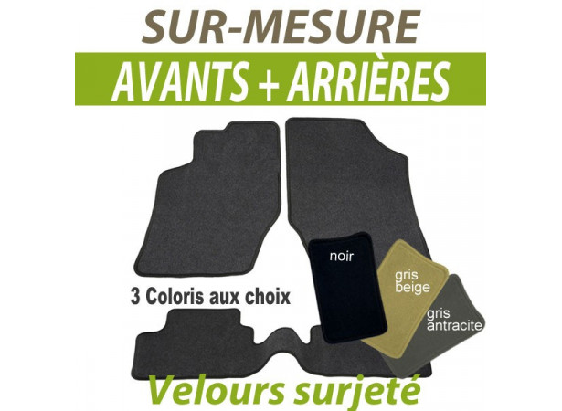 tapis auto avants arri res sur mesure en moquette velours surjet e. Black Bedroom Furniture Sets. Home Design Ideas