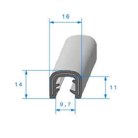 Joint armature métallique en caoutchouc E.P.D.M - 16 x 14 mm
