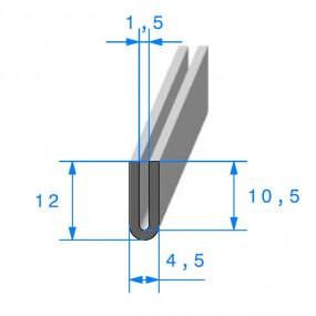 Joint de finition en U - 4.5 x 12 mm