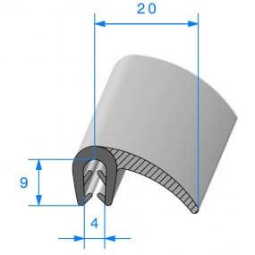 Joint porte compact + lèvre - 20 x 9 mm