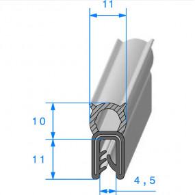 Joint coffre noir - 11 x 11 mm
