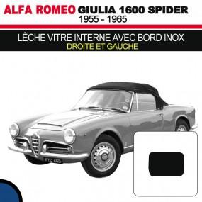 Lèche vitre interne avec bord inox (droite et gauche) cabriolets Alfa Romeo Giulia Spider 1600