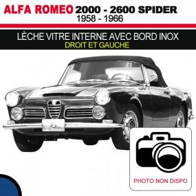 Lèche vitre interne avec bord inox (droit et gauche) cabriolets Alfa Romeo 2000, 2600 Spider