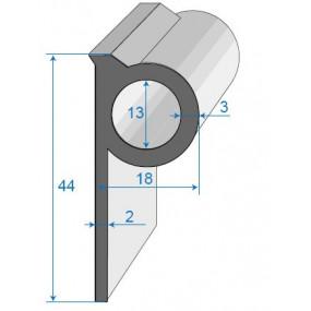 Joint bavette caoutchouc cellulaire décallée - 18 x 44 mm