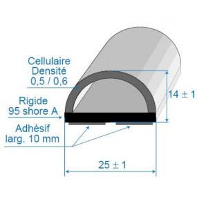 Joint bi-dureté avec face adhésive - 25 x 14 mm