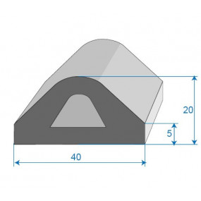 Joint butoir non adhésif - 40 x 20 mm