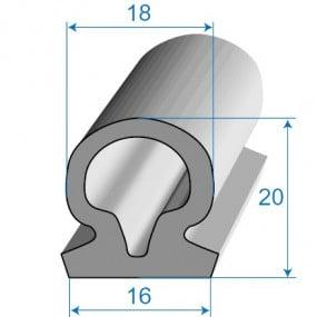 Joint de porte à bourrelet - 16 x 20 mm