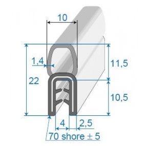 Joint coffre sur armature métallique - 10 x 11.5 mm