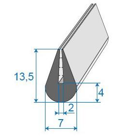 Joint de finition en U - 7 x 13.5 mm