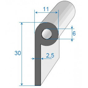 Joint bas de porte à bourrelet - 11 x 30 mm