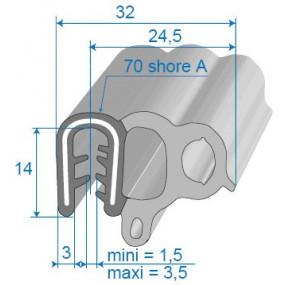 Joint de porte armé - 24.5 x 14 mm