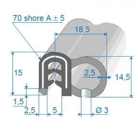 Joint de porte armé - 18.5 x 15 mm