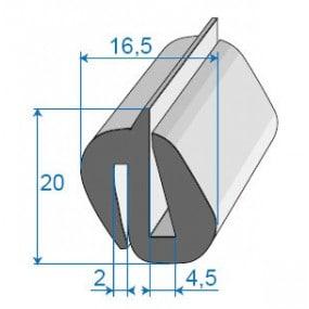 Joint de glace et pare-brise - 16.5 x 20 mm