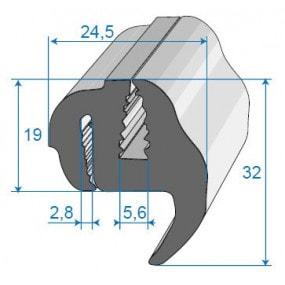 Joint de glace et pare-brise - 24.5 x 32 mm