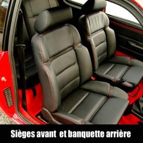 205 CTI - Garnitures siège avant et banquette arrière en cuir noir avec surpiqures rouges