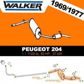 Silencieux arrière Peugeot 204 cabriolet (Salon 1968 au 12/1977)
