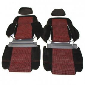 Garnitures siège avant et banquette arrière en tissu noir côtelé et tissu quartet 205 GTI