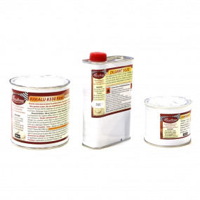 Restom® 8330 Peinture polyuréthane haute résistance Gris alu satinée pour jantes - 500 + 500 + 100ml