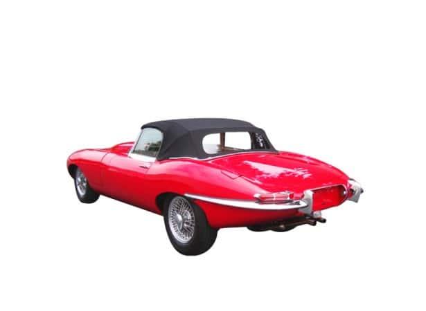 Capote auto Jaguar Type E/XKE cabriolet en Vinyle aspect Grain Cuir avec lunette arrière en PVC