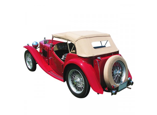 Capote auto MG TC cabriolet en Alpaga avec lunette arriere en PVC