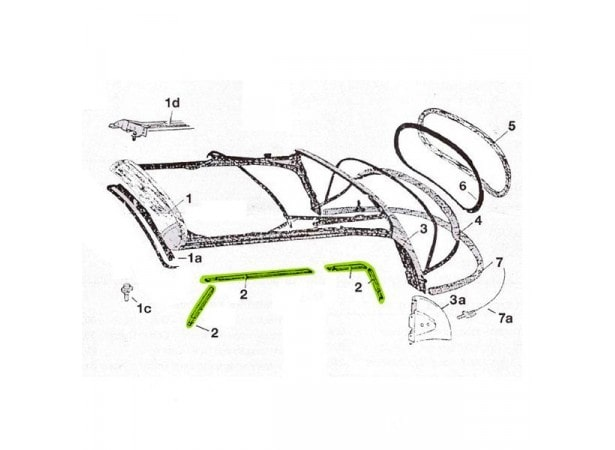 Joints de capote droit et gauche pour Volkswagen Coccinelle 1303
