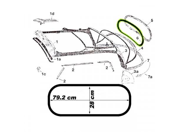Joint de lunette arrière pour capote de Volkswagen Coccinelle 1303