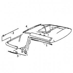 Câble latéral droit pour capote de cabriolet Mercedes 300 SL à 600 SL type R129