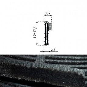 Lèche-vitre intérieur souple - 2,5 x 17,5 mm
