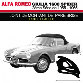 Joint de montant de pare brise droit et gauche cabriolets Alfa Romeo Giulia Spider 1600 (2ème série)