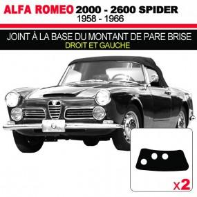 Joint à la base du montant de pare brise pour les cabriolets Alfa Romeo 2000, 2600 Spider
