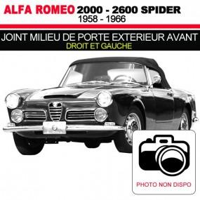Joint milieu de porte extérieur avant pour les cabriolets Alfa Romeo 2000, 2600 Spider