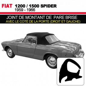 Joint de montant de pare brise avec le coté de la porte (droit et gauche) pour les cabriolets Fiat 1200/1500