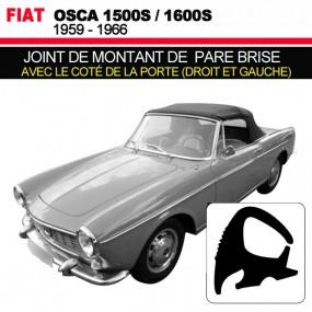Joint de montant de pare brise avec le coté de la porte (droit et gauche) pour les cabriolets Fiat Osca 1500S/1600S