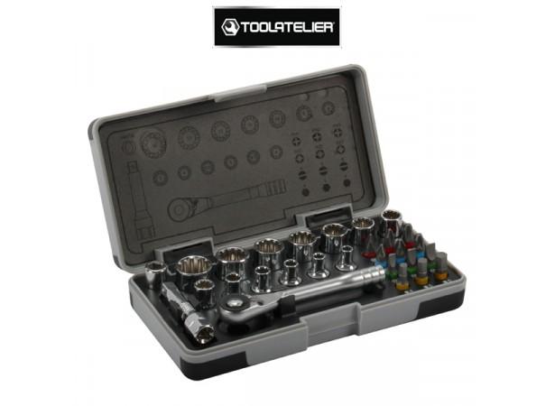 """Coffret d'outils 1/4"""" : clé à cliquet, douilles, embouts (28 pièces) - ToolAtelier"""