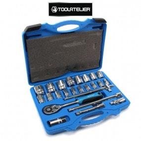 """Coffret d'outils 1/2"""" : clé à cliquet, douilles (24 pièces) - ToolAtelier"""