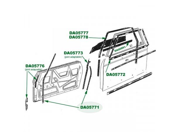 Joint intérieur de porte Peugeot 204/304 cabriolet (JOC8B)