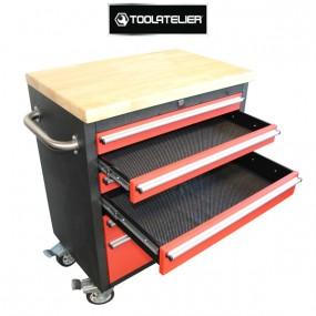 Servante d'atelier roulante, plateau bois (6 tiroirs) - ToolAtelier