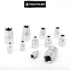 """Coffret de douilles type Torx empreinte femelle, carrés 1/2"""",1/4"""",3/8"""" (11 pièces) - ToolAtelier®"""