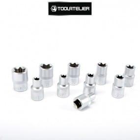 """Coffret de douilles type Torx empreinte femelle, carré 1/2"""" (10 pièces) - ToolAtelier®"""
