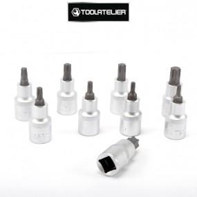 """Coffret de douilles type Torx empreinte mâle, carrés 1/2"""" (9 pièces) - ToolAtelier®"""