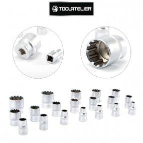 """Coffret 19 douilles 12 pans Spline (8 à 32 mm), carré entraînement 1/2"""" - ToolAtelier®"""