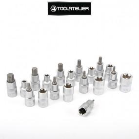 """Douilles types Torx mâles et femelles, entraînement carré 1/2"""" (coffret 19 pièces) - ToolAtelier®"""